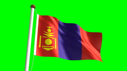 Mongolian flag (seamless & green screen)