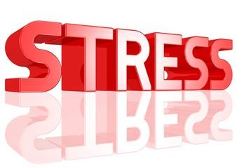 Stress - Text in großen roten Buchstaben