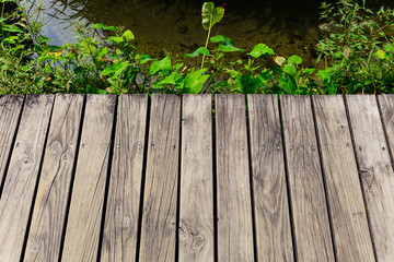 Wooden floor over the river
