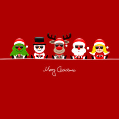 Tree, Snowman, Rudolph, Santa & Angel Sunglasses Red