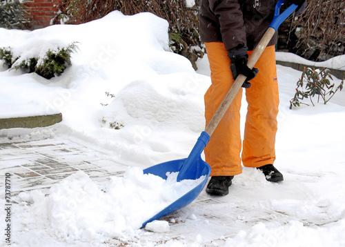 Leinwanddruck Bild Schnee schieben