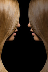 Profile blondes and brunettes with straight hair