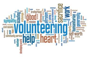Volunteering. Word cloud concepts.