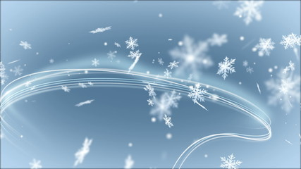 Abstract Background with Light Lines and Snowflakes.