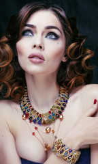 beauty rich woman with luxury jewellery close up