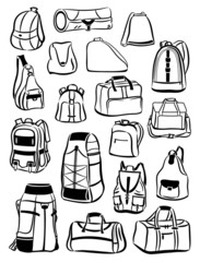 Contours of backpacks and bags