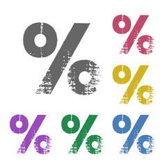 Percent flat icon. Grunge style. Vector illustration.