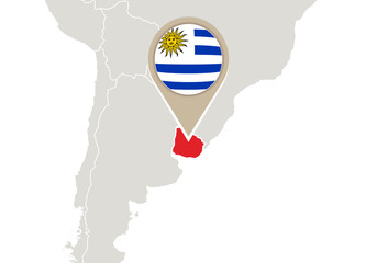 Uruguay on World map