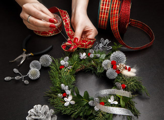 making Christmas wreath