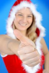 Blonder Weihnachtsmann Daumen hoch