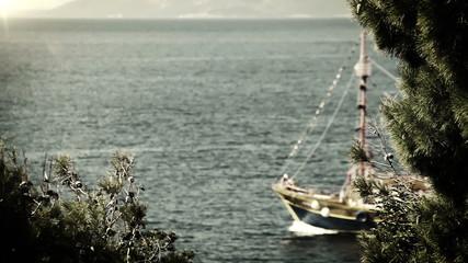 Ship sails in deep blue waves Adriatic Sea OLD FILM