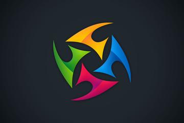 3D circular abstract colorful tecnology logo vector