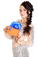 Beautiful young woman with a bright gift