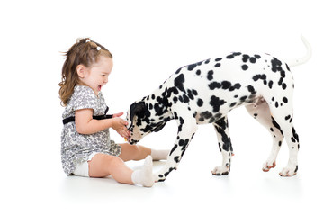 child girl playing puppy dog