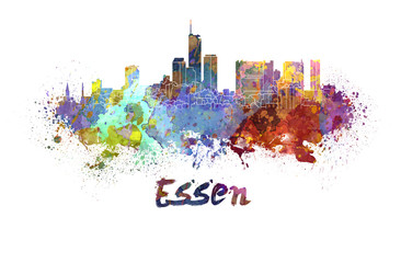 Essen skyline in watercolor
