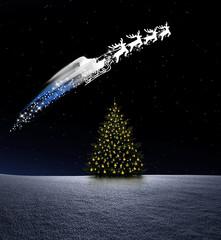 Niklausschlitten über Weihnachtsbaum