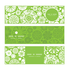 Vector abstract green and white circles horizontal banners set
