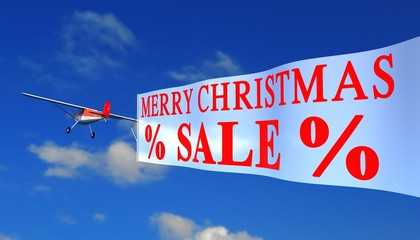 """airplane with banner """"x-mas sale"""""""