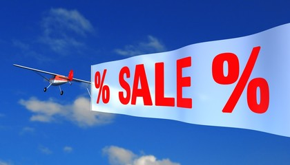 """airplane with banner """"sale"""""""