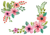 Fototapety Watercolor floral wreath.