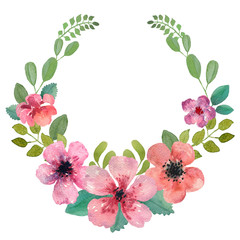 Watercolor floral wreath.