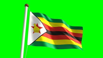 Zimbabwean flag (seamless & green screen)