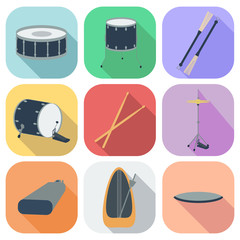 A set of drum icons. Flat design. Shadow. vector