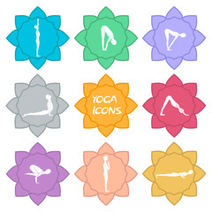 Yoga icons. Flat design. vector€