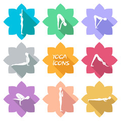 Yoga icons. Flat design. Shadow. vector€