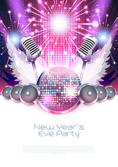 New Year´s music poster with disco ball, speakers and fireworks