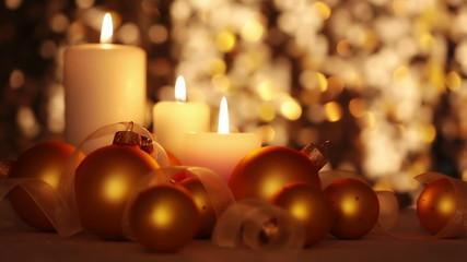 Christmas Candles and Balls. Changing Light