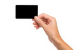Black card in woman's hand - 73793925