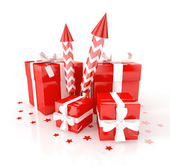 gift boxes with red fireworks. 3d illustration