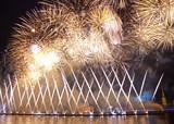 Salute on celebration Scarlet Sails, St. Petersburg, Russia