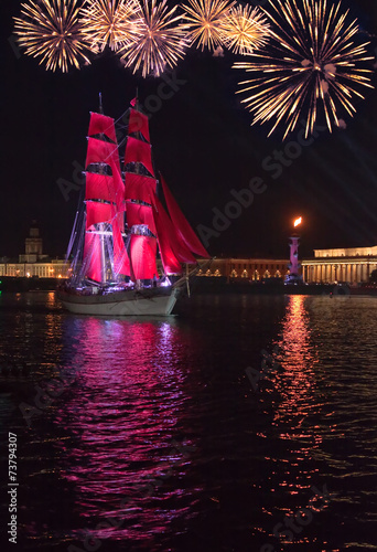 Foto op Canvas Violet Celebration Scarlet Sails, St. Petersburg, Russia