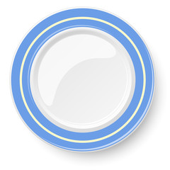 Empty plate with blue border isolated on a white