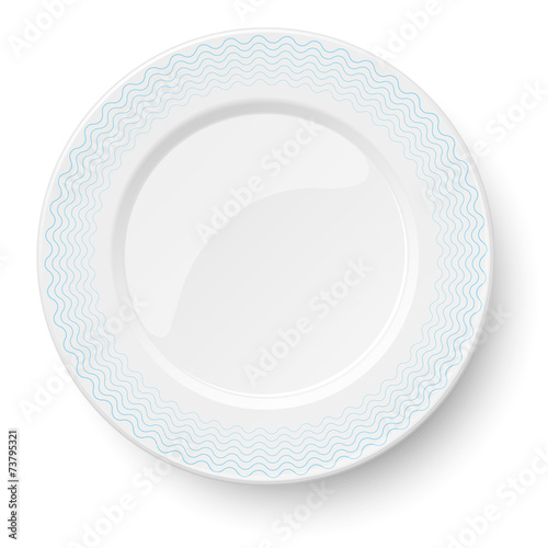 Empty classic white plate with wavy blue pattern - 73795321