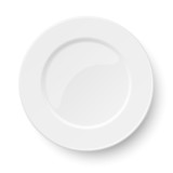 Empty classic white plate isolated on white