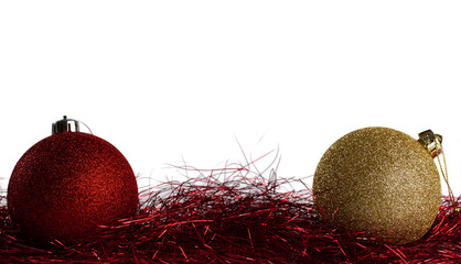 Christmas balls with red tinsel