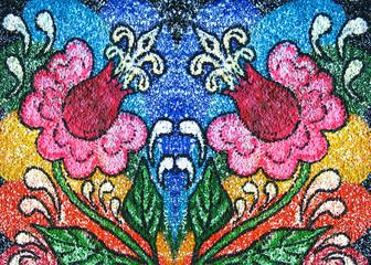 Decorative flower, textured background