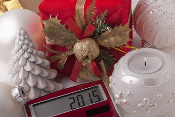 Gift, candle, calculator, new-year balls