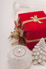 Gift, candle, new-year balls
