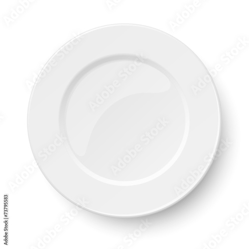 Empty classic white plate isolated on white - 73795583