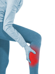Human Calf pain with medical health care concept.