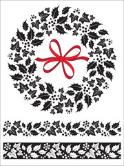 Christmas holly and ivy wreath and seamless border