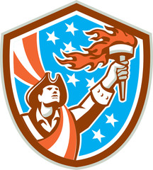 American Patriot Holding Torch Flag Shield Retro
