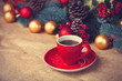 canvas print picture - Cup of coffee and christmas gifts.