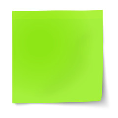 Green sticky note with turned up corner isolated