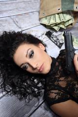Pretty girl with gun