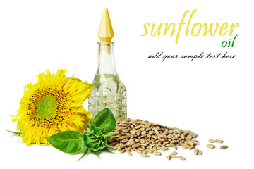sunflower oil with a flower and seed